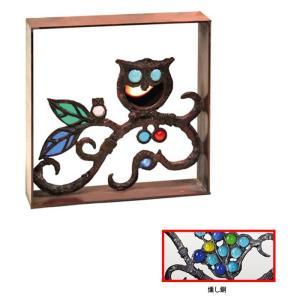 ブロック 塀 壁飾り飾りブロック シャインガラス銅製ミニブロック(ふくろう)  外壁 外構工事|estoah