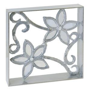 ブロック 塀 壁飾り飾りブロック シャインガラス銅製ブロック(花/小)  外壁 外構工事|estoah