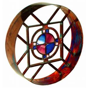 ブロック 塀 壁飾り飾りブロック シャインガラス銅製丸型ラウンド格子タイプ400ベネチアン  外壁 外構工事|estoah
