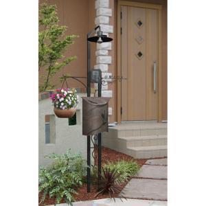 ポスト 郵便受け 機能門柱 照明 表札 インターホン エストアオリジナルロートアイアン機能門柱 NEO Type-1  スタンドタイプ|estoah