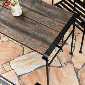 ガーデンテーブル カフェテーブル アイアン&バーンウッドテーブル ガーデン家具 ロートアイアン ハンドメイド ガーデンファニチャー estoah