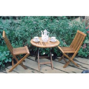 ガーデンテーブルセット カフェテーブルセット ミニ折りたたみ式テーブル&チェア3点セット チーク材 テーブル チェア(椅子)2脚 完成品|estoah