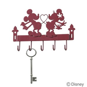 壁掛け フック 壁掛け キーフック  ディズニー ミッキー&ミニー レッド  玄関収納 インテリア小物|estoah