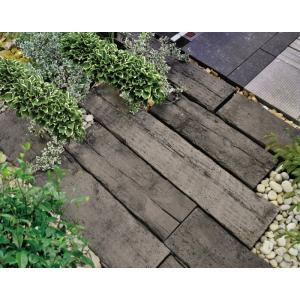 庭 敷石 ストーンステップ 飛石 踏石舗装アイテム 敷材 コンクリート製 古枕木 日本 オンリースリーパー ベイブ360〜390(1枚単位)|estoah|06