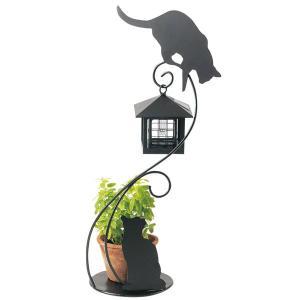 ソーラーライト 屋外 照明 ガーデンライト LED センサー付 ソーラーライト 庭 照明 猫のシルエットM 外灯  照明器具 おしゃれ|estoah