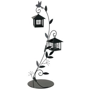 ソーラーライト 屋外 照明 ガーデンライト LED センサー付 ソーラーライト 庭 照明 小鳥と葉っぱのオーナメント 2灯タイプ 外灯 照明器具 おしゃれ|estoah