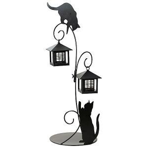 光センサー付ソーラーライト 猫のシルエットL