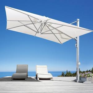 ガーデンパラソル 日よけパラソル スコラロ社 イタリア製 高級パラソル ガリレオイノックス オフホワイト フリル無し 傘幅 300cm 大型 ベース付き|estoah