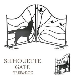 スチールフェンス シルエットゲート 最大幅133 フェンス 室外機カバー 室内ゲート Tree&Dog 犬のシルエット|estoah