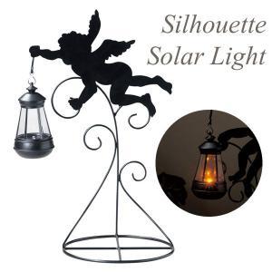 ソーラーライト 屋外 照明 ガーデンライト LED センサー付 シルエットソーラーライト エンジェルA 庭 外灯 照明器具 おしゃれ|estoah