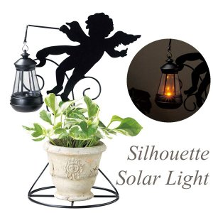 ソーラーライト 屋外 照明 ガーデンライト LED センサー付 シルエットソーラーライト エンジェルB 庭 外灯 照明器具 おしゃれ estoah
