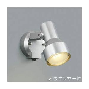 屋外 照明 スポットライト LED付 人感センサー付 タイマー付 ON-OFFタイプ 白熱球100W相当 散光  防雨型 シルバーメタリック 照明器具|estoah