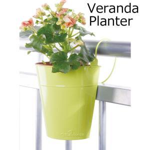 プランター 植木鉢 おしゃれ ライムグリーン 手すりや柵に吊るすカラーフラワーポット 18×9×21cm  ベランダ/バルコニー/テラス/ガーデニング/園芸用品|estoah