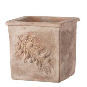 プランター 植木鉢 プランター 植木鉢 テラコッタ鉢 オリーブポット スクエアー アンティコ 37×37×37cm ガーデニング園芸用品|estoah