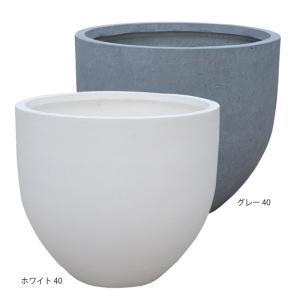 プランター大型 植木鉢 ファイバー ファイバープランター ミュウ ホワイト グレー 40×36cm ガーデニング園芸用品|estoah