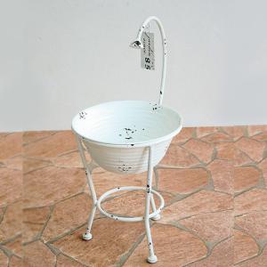 プランター 植木鉢 ガーデンプランター直径19.5cm シャワーバケット ホワイト (底穴あり) アイアン 鉢 オーナメント オシャレ|estoah