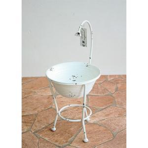 プランター 植木鉢 ガーデンプランター直径19.5cm シャワーバケット ホワイト (底穴あり) アイアン 鉢 オーナメント オシャレ|estoah|02