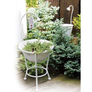 プランター 植木鉢 ガーデンプランター直径19.5cm シャワーバケット ホワイト (底穴あり) アイアン 鉢 オーナメント オシャレ|estoah|03