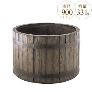 プランター 大型 円形 植木鉢 円柱形 GRCプランター ウッディー 木目 直径900×H580mm ガーデニング 園芸用品 【代引不可】|estoah