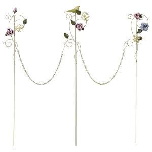花壇 フェンス ガーデニング ミニフェンス チェーンピック ブルーム アイボリー バラと小鳥のオーナメント|estoah
