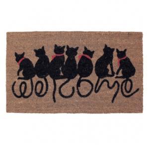 玄関マット 屋外用 コイヤーマット FBGY4050 ウエルカムキャット 猫  エントランスを素敵に演出 estoah