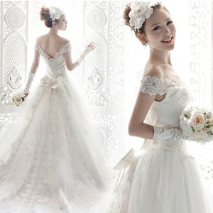 ウェディングドレス ベール 二次会 結婚式 披露宴 花嫁 衣装 スレンダー レース ストール ロングドレス 韓国風 大きいサイズ|esunshop