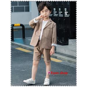 韓国風子供 格子スーツ   フォーマル タキシード 男の子 キッズ 七五三 入学式 卒  業セット 卒業スーツ ピアノ発表会 裏起毛 結婚式 3点セット|esunshop