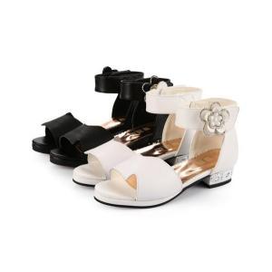 キッズ サンダル 女の子 ガールズ ジュニア 子供 ローヒール 靴 シューズ 可愛い 姫系  esunshop