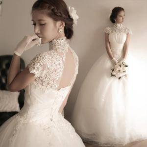 レースウェディングドレス プリンセス  ビスチェ 二次会 結婚式 披露宴 花嫁 衣装 スレンダー ロングドレス 韓国風 大きいサイズ|esunshop