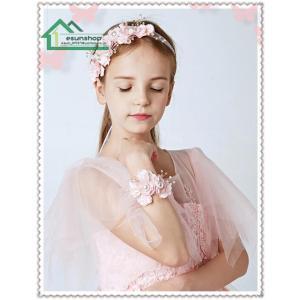 子供用 フラワーティアラ 髪飾り+腕輪 花冠 子供ドレス フォーマル  キッズ ジュニア 発表会 結婚式 七五三 フラワーガール ヘッドドレス|esunshop