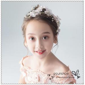 子供用 フラワーティアラ 髪飾り 花冠 子供ドレス フォーマル  キッズ ジュニア 発表会 結婚式 七五三 フラワーガール ヘッドドレス|esunshop