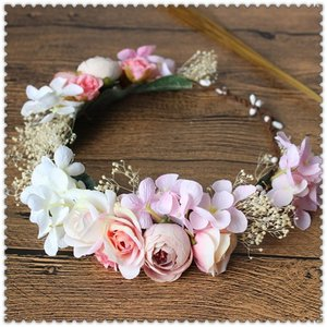 2018花冠ティアラ、ウエディング 花冠、花かんむり、ヘアアクセサリー、 結婚式、ヘッドアクセ、花輪、森ガール、写真撮り、パーティ|esunshop