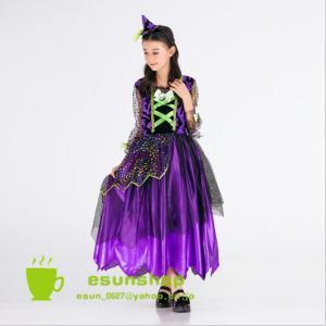 魔女 ウィッチ こども プリンセス 子供 コスチューム ドレス ワンピース ハロウィン 仮装 発表会 コスプレ キッズ 女の子|esunshop