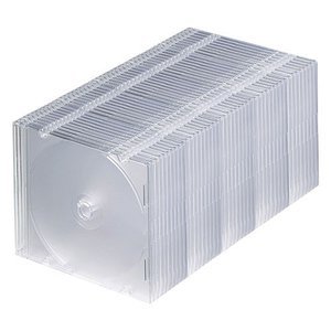 訳あり新品 DVD・CDスリムケース ブルーレイ対応 50枚セット クリア 厚さ5mm 箱にキズ、汚れあり FCD-PU50C サンワサプライ ネコポス非対応