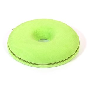 低反発クッション 丸型 座布団 円座 ドーナツクッション 立体 フィット もちもち イエローグリーン...