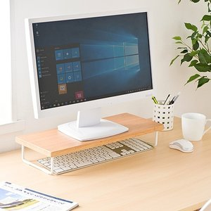 机上ラック 卓上 液晶 モニター ディスプレイ PC キーボード 台 木製 ネコポス非対応|esupply|02