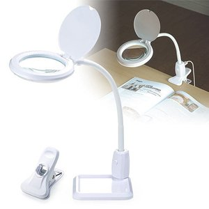 拡大鏡 スタンド アーム LEDライト 照明 卓上 置き型 固定 クリップ ルーペ 拡大率1.75倍...