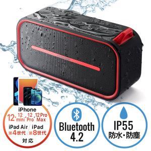 Bluetoothスピーカー 防水・防塵 コンパクト Bluetooth4.2 重低音 microSD対応 パッシブラジエーター 6W レッド EZ4-SP069R ネコポス非対応|esupply