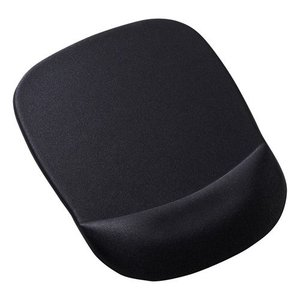 手首を優しく守る、低反発ウレタンリストレスト付きマウスパッド。ブラック。