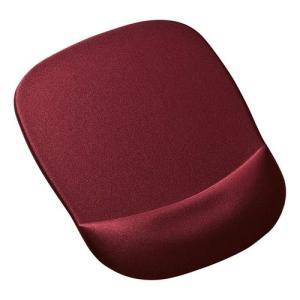 手首を優しく守る、低反発ウレタンリストレスト付きマウスパッド。ワインレッド。