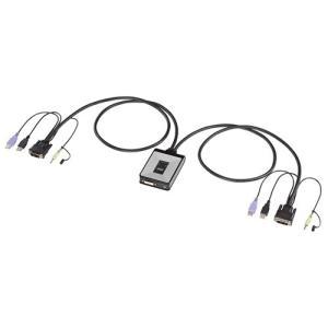 パソコン自動切替器 2:1 ディスプレイエミュレーション機能 ケーブル一体型 コンパクト DVI USB SW-KVM2DUN サンワサプライ ネコポス非対応|esupply