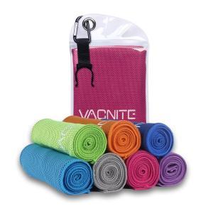 VACNITE クールタオル 速乾タオル 超吸水 軽量 速乾 熱中症対策 100×30cm 1枚 7色選択可能 防水袋付き (ローズレッド)
