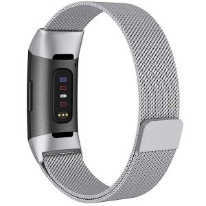 AIGENIU コンパチブル Fitbit Charge3 バンド、マグネット式のあるステンレスミラ...