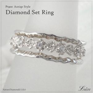 リング フルエタニティ リング ダイヤ フラワー 3本セットリング 結婚指輪 プラチナ900 誕生日...