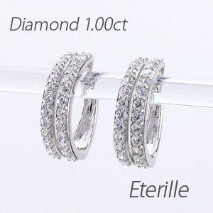 Eterille - ピアス プラチナ 900 ダイヤモンド フープピアス 中折れピアス 2連 ダブル エタニティ ...
