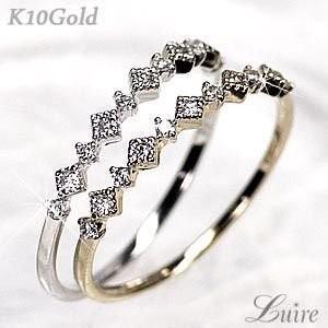 ダイヤ リング エタニティ アンティーク調 ダイヤモンド K10ゴールド 指輪