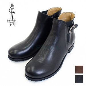 【店頭展示品】あしながおじさん ショートブーツ ベルト ブラック ブラウン J7650167|eterna