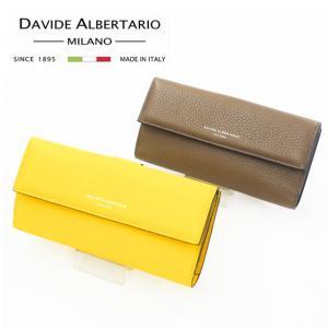 DAVIDE ALBERTARIO ダビデアルベルタリオ イタリア製 長財布 8995 イエロー トープ コンビカラー イタリアンレザー メンズ レディース eterna