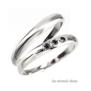 結婚指輪 ペアリング 2本セット ブラックダイヤモンド ブライダル マリッジリング k18ゴールド 18金 人気 レディース|eternally