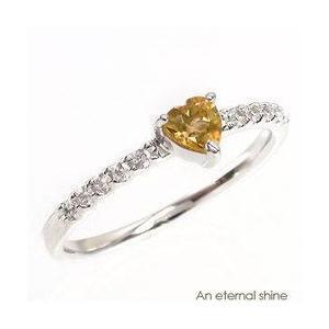 ピンキーリング ハート プラチナ リング シトリントパーズ 11月誕生石 ダイヤモンド 指輪 プラチナ900 pt900 指輪 一粒 ハートシェイプ レディース|eternally